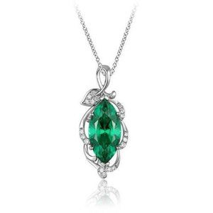 Jewelry - Pendant Necklace With Chain 14K 5.35 Carats Emeral